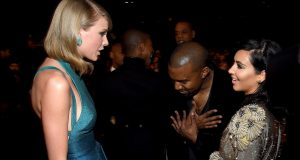 Taylor Swift with Kim Kardashian and Kanye West